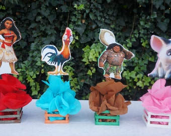Inspired Disney Moana Birthday Party Decorations Table Centerpiece Wood Base Great For Guest Tables Candy Food Court Maui Pua Heihei
