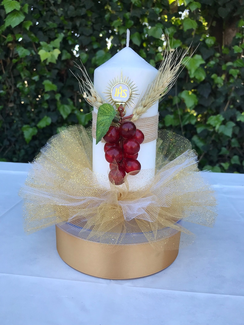 Set Of 6 First Communion Holy Sacrament Candle Candy Jar Table Etsy
