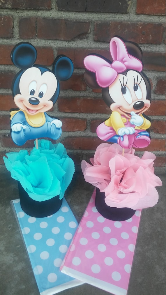 Disney Baby Mickey Mouse Or Minnie Mouse Centerpiece Birthday Etsy