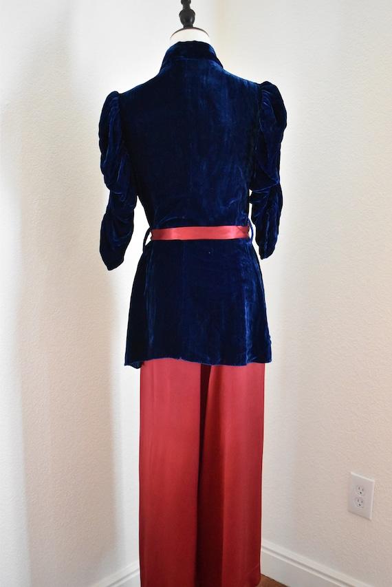 Vintage 1930s Silk and Velvet Beach Pajama set, 3… - image 5