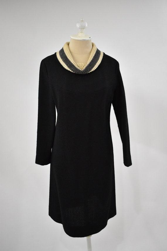 60's Woven Wool Black Sweater Dress // Vintage woo