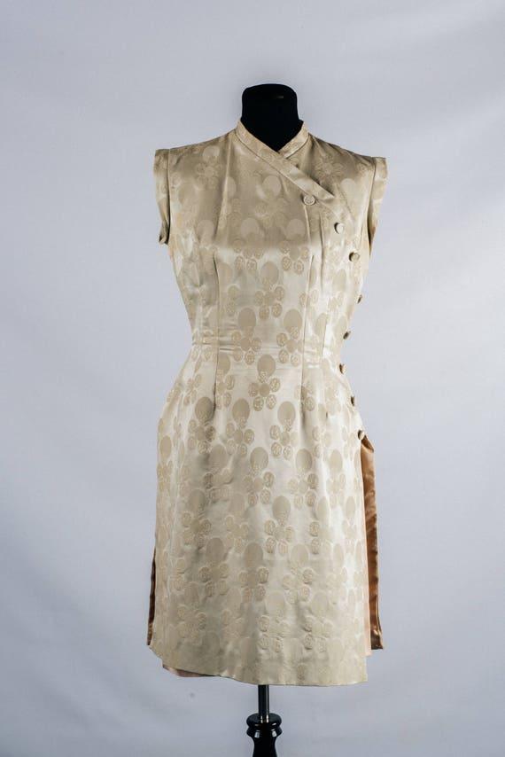 Vintage 1950's Oriental Wiggle Dress // Ivory Silk