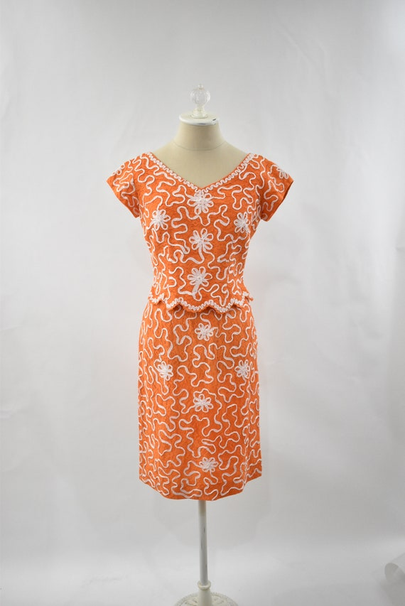 Vintage orange lace cocktail dress // 1960s orange