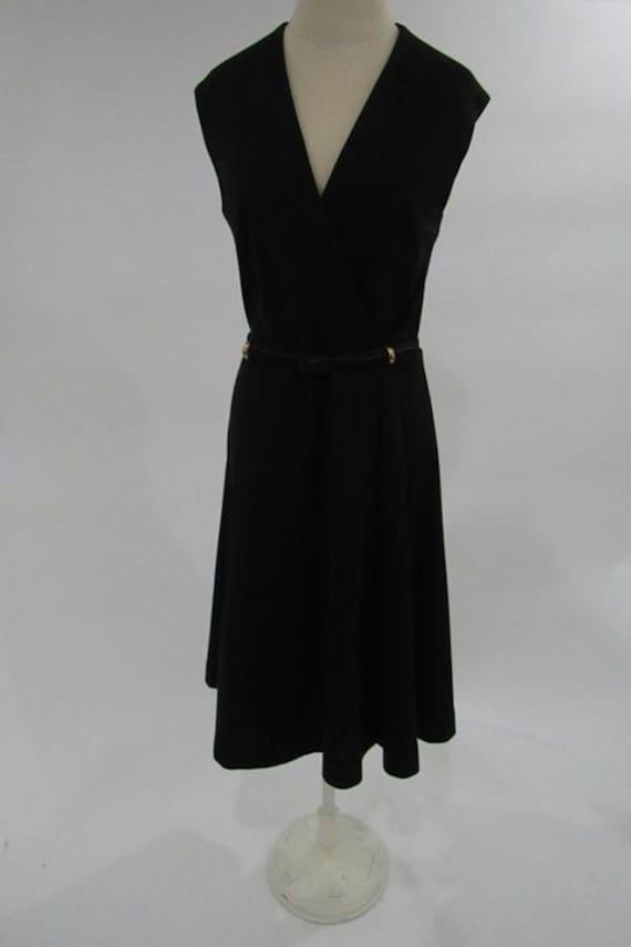 Vintage black wrap dress/ 1970s wrap dress // vint