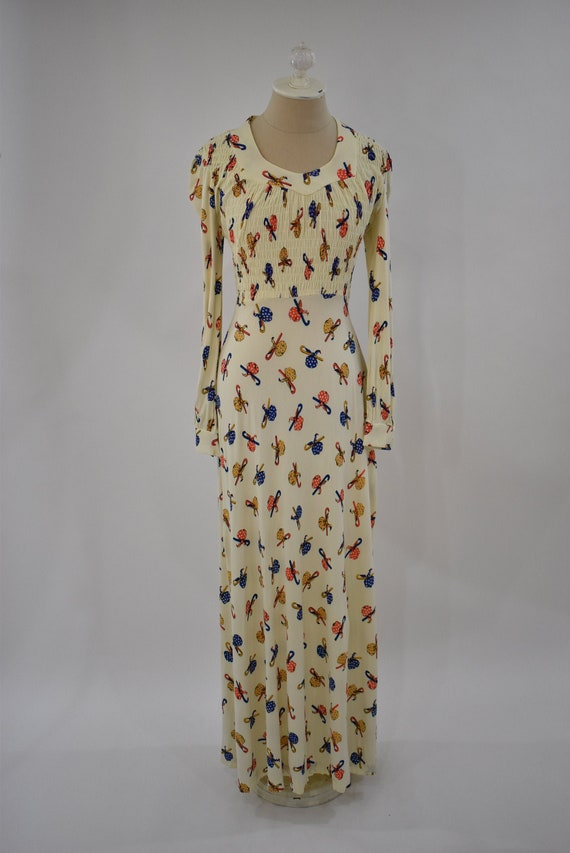 1970s Hobo novelty print maxi dress // vintage nov