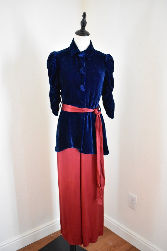 Vintage 1930s Silk and Velvet Beach Pajama set, 30