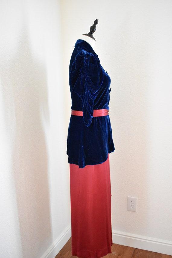 Vintage 1930s Silk and Velvet Beach Pajama set, 3… - image 4