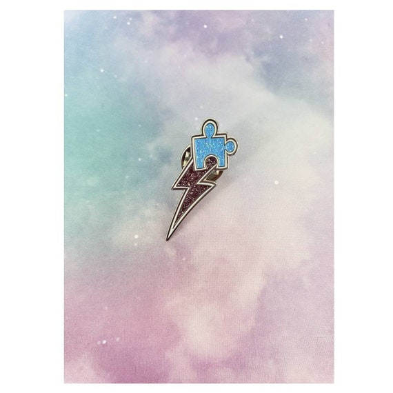 e40384ed953 Autism Awareness Pin / Puzzle Piece Enamel Pin / Lightning Bolt Lapel Pin /  Glitter Enamel Pins / Autism Support