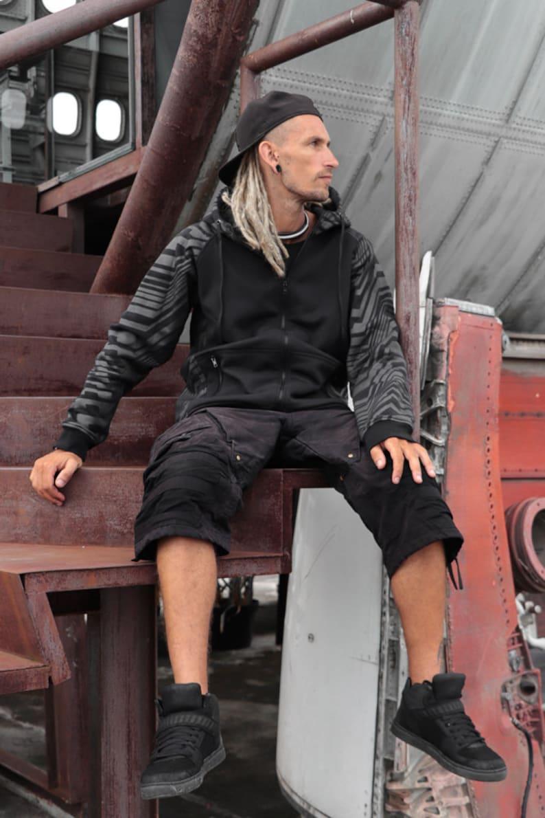 geometric pattern printed TUNKSA Street wear Frekuency Warm vest for festival Zipped hoodie black sweatshirt with pocket