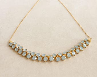 Pale Blue Double Rhinestone and Gold Chain Necklace