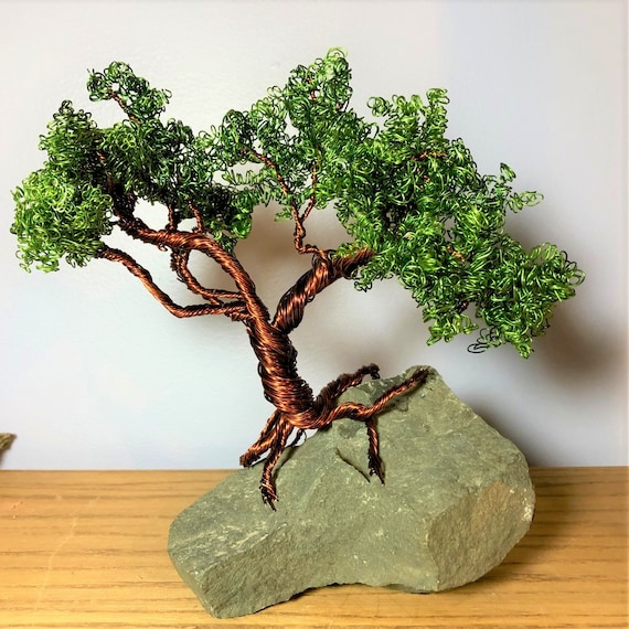 Copper Wire Bonsai Tree Sculpture On Heart Rock Etsy