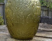 Lalique Amber Vase, titled Biches, signed, circa 20th Century