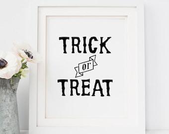 Watercolor Trick or Treat Yo/'self Printable Halloween Print Art Print Halloween Party Fall Print Instant Download