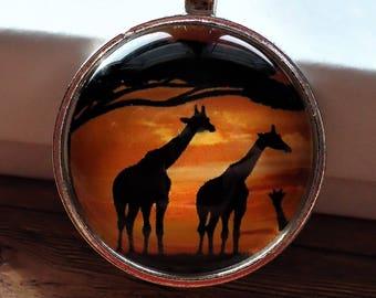 Giraffe Silver Key-chain or Necklace | Animal Lover, I Love Giraffes, Zoo, Cartoon Giraffe, Baby Giraffe, Giraffe Gift, Africa, Wild Giraffe