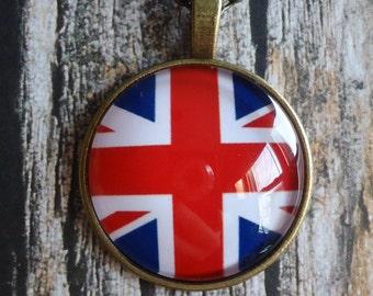British Flag  Bronze Necklace   British Flag, British Pride, Ancestry, Heritage, Unique Gift, Union Jack, Necklace