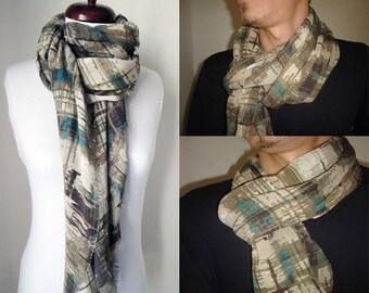 Linen scarf, linen shawl, Men gifts, camo scarf, boyfriend gift ideas, linen scarves, camo wedding gift, groomsmen gifts, man christmas gift