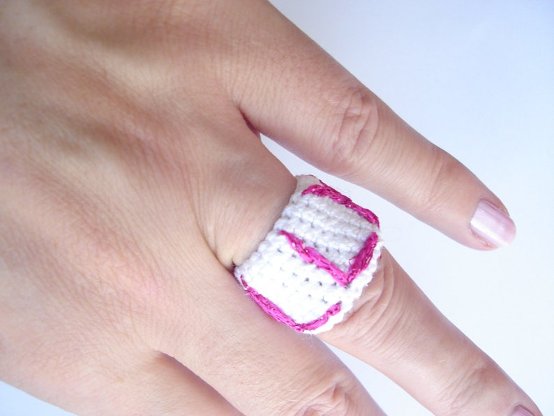 Crochet ring Wide Rings Personalized rings Knited rings for women Choose your color Antialergic ring Knit ring in colors knit Yarn ring