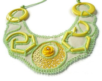 Leather Embroidered Necklace, Yellow Jewelry, Yellow Necklace, Handmade Necklace, Leather Collar, Unique Necklace BibUnique Gift for Teacher