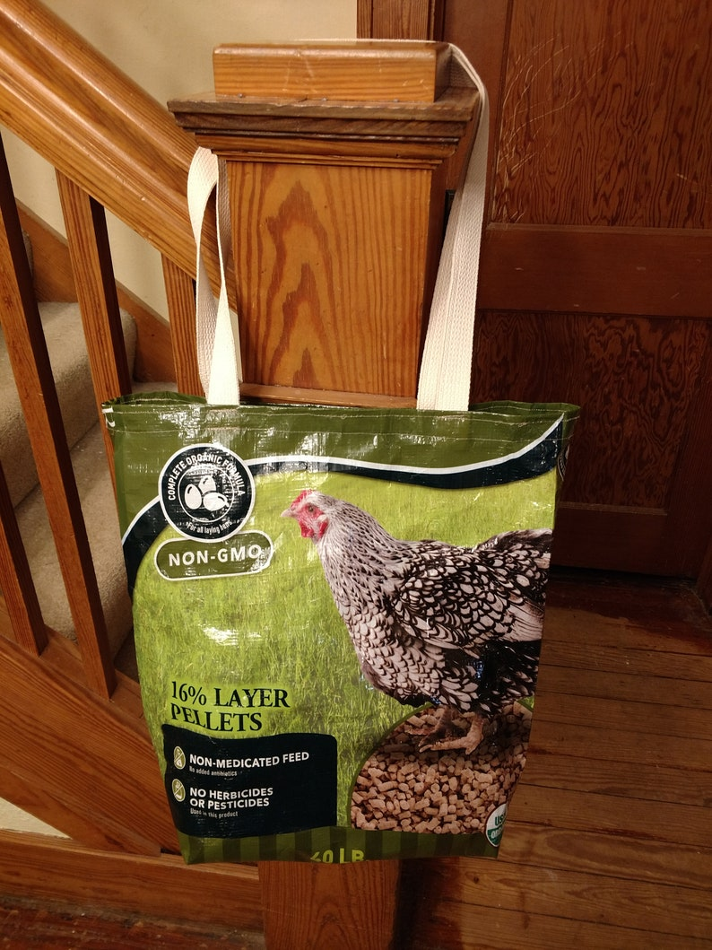 Recycled Feed Bag FREE SHIPPING Reusable Grocery Bag Upcycled Feed Bag Tote Chicken