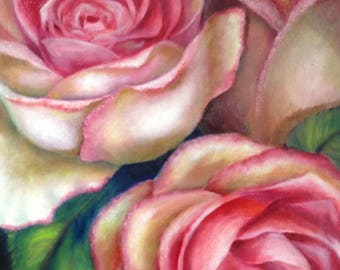 Oil Painting, Pink, White Roses Original Oil Painting