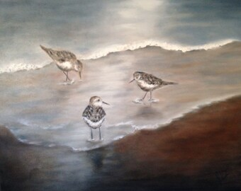 Oil Painting, Large Ocean Painting - Sandpipers - 24x30