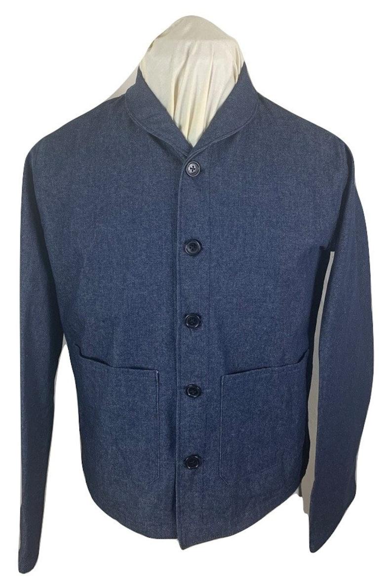 Men's Vintage Workwear Inspired Clothing Navy Style Denim Dungaree Jacket $90.00 AT vintagedancer.com