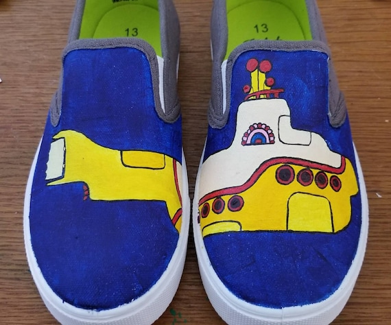 Yellow submarine hand painted shoes | Etsy