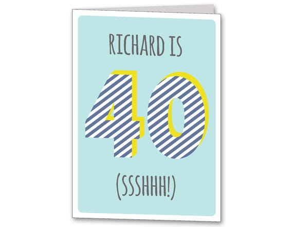 Mens Personalised 40th Birthday Card Personalized Age 40