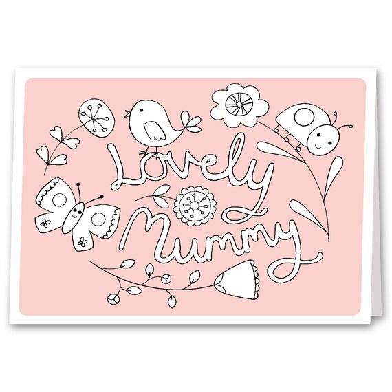 Mummy Birthday Card Childrens Kids Colouring Card Mum Card Etsy
