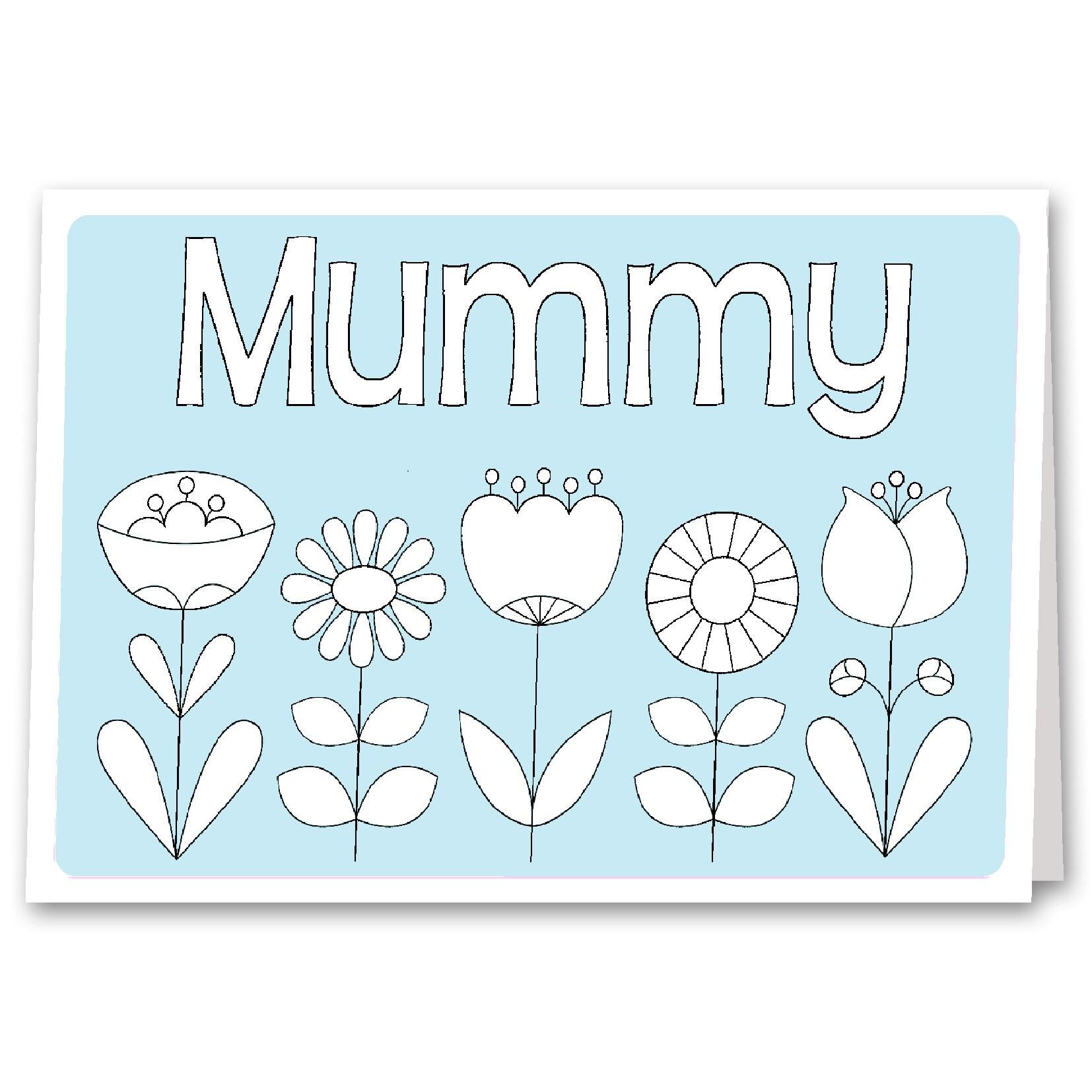 Mummy Grandma Nana Birthday Card Childrens Colouring