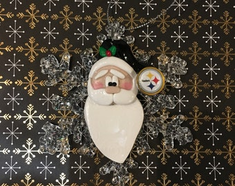 Polymer Clay Pittsburgh Steelers Santa Ornament ab83442a3