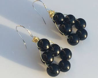 Black Tourmaline, Gold & Sterling Silver Beaded Chandelier Earrings. Protection, Triangle