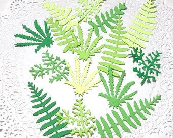 Green fern cutouts, Green leaves cutouts, Folliage confetti, Nature theme confetti, Handmade leave confetti, scrapbooking embellishments.