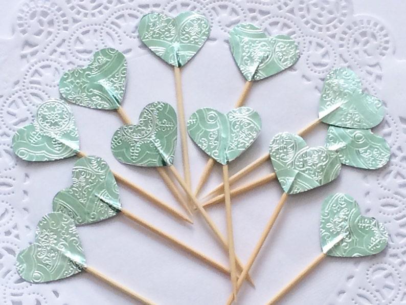 Light Teal Heart Cupcake Toppers Handmade Teal Cake Topper Etsy