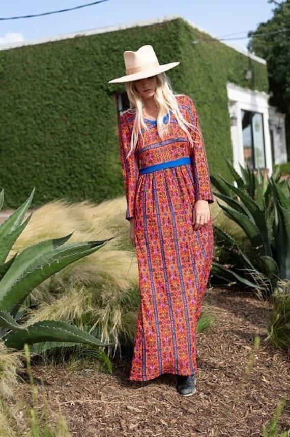 Vintage bright 70's paisley floor length dress