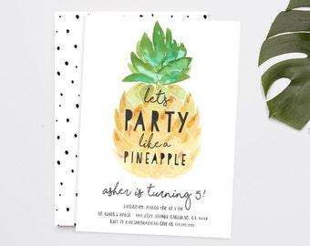 Party like a Pineapple Birthday Invitation, Aloha, Luau, Hawaiian Party Invitation (824)