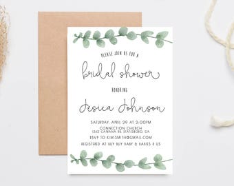 bridal shower invitation eucalyptus watercolor printed bridal shower invitations 693