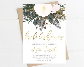winter bridal shower invitation bridal shower invitation white and gold florals watercolor invitation 4077