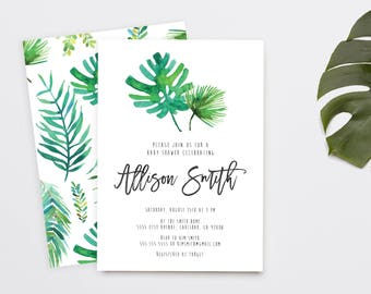 Tropical Baby Shower Invitation, Palm Print, Banana Leaf, Printable Invite (1134)