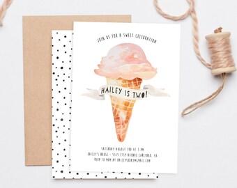 Ice Cream Birthday Party Invitation, Watercolor, Printable Invites (909)