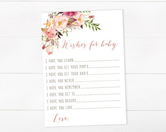Wishes For Baby, Baby Shower Game, Girl Baby Shower, Watercolor Floral, Printable Game (105)