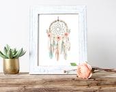 Nursery Art, Dream Catcher, Nursery Print, Boho, Watercolor Flower, Native American (254)