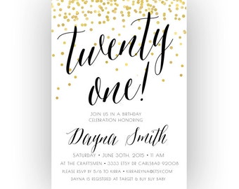 Adult Birthday Invitation Black White Gold Printable Invites Glitter 212