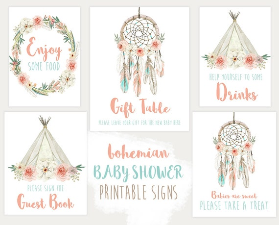 Baby Shower Signs Decorations Boho Dream Catcher Printable Etsy Classy Dream Catcher Baby Shower Decorations
