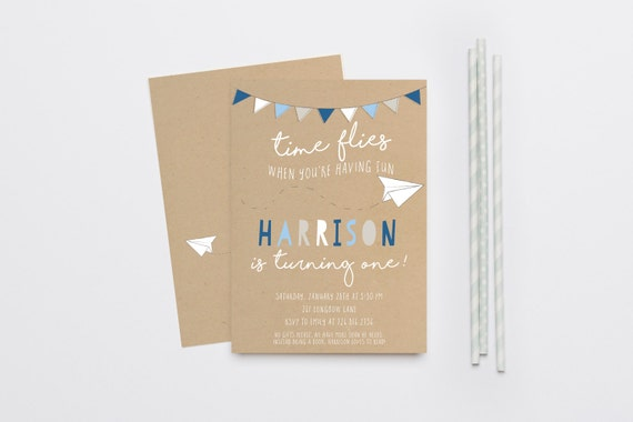 Time Flies Paper Airplane Boy Birthday Invitation First