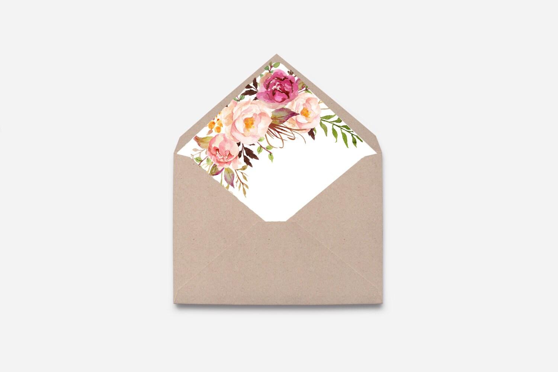 Envelope Liner Watercolor Flower Diy 460 Etsy