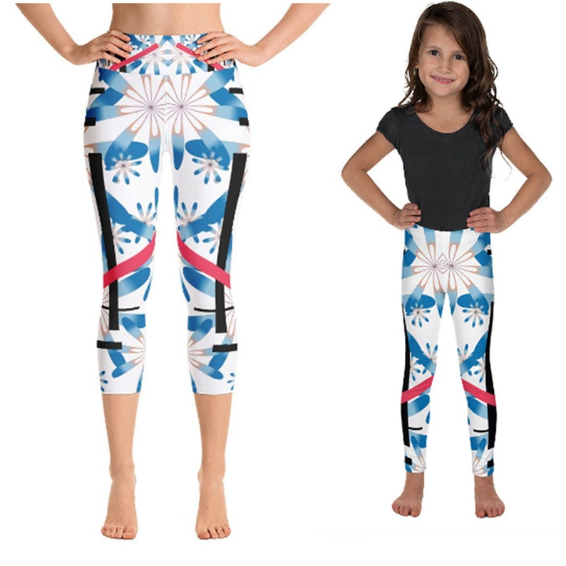 Kid's Leggings Blue Flower image 0