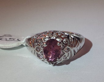 Pink Tourmaline Sterling Silver Ring, Natural Tourmaline, October Birthstone