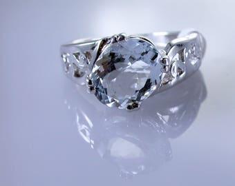 Aquamarine Sterling Silver Ring, Natural Gemstone, March Birthstone
