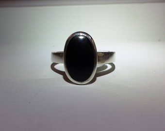 Black Onyx Sterling Silver Ring, Natural Gemstone, Oval Gemstone